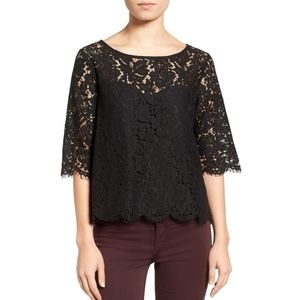 Cupcakes & Cashmere Summit black lace top illusion